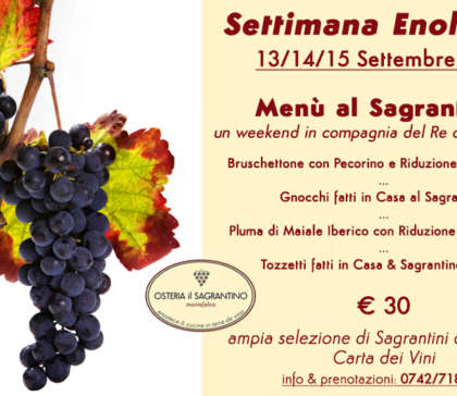 Enologica Festival – Menu with Sagrantino Wine – From 13 to 15 September