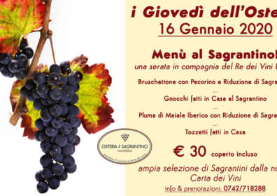 Menu al Sagrantino – 16 Gennaio 2020