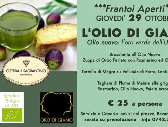 L'Olio di Giano – Giovedì 29 Ottobre in Osteria